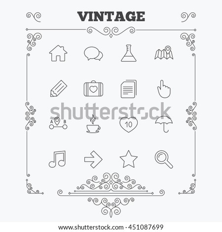Universal icons. House building, speech bubbles and first aid box. Copy documents, like counter and hot coffee drink. Map pointer, arrow and favorite star. Vintage ornament pattern. Decoration design. - stock vector
