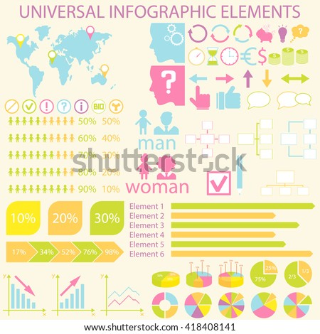 Universal infographic elements. Icon for infographics, presentations, business, cards and backgrounds. Easy editable vector file with charts, graphics and icons. Vector illustration. - stock vector