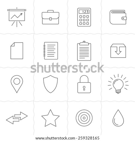 Universal line icons set. Vector illustration of garden tools. Simple outlined icons. Linear style - stock vector