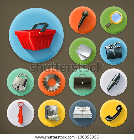 Universal, long shadow icon set - stock vector