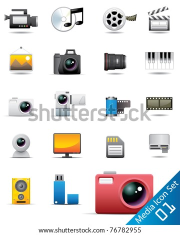 Universal media icons - stock vector