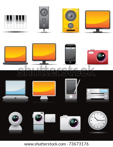 Universal media icons -- vector illustation - stock vector