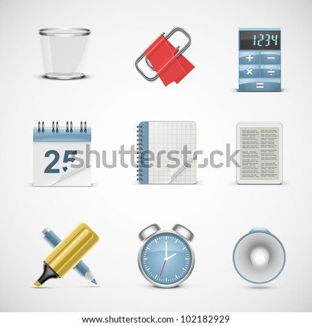universal office vector icon set - stock vector