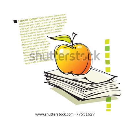 universal page layout with apple icon, freehand drawing vector - stock vector