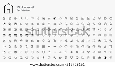 Universal Pixel Perfect Icons (line style) - stock vector