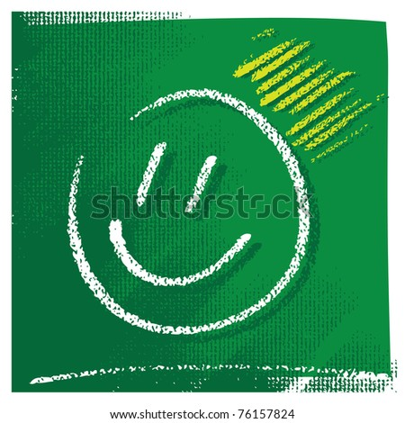 Universal smiling icon, freehand drawing, chalk technique - stock vector