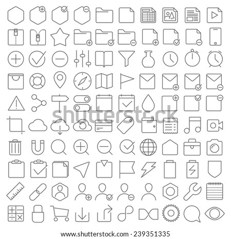 Universal thin line interface icons set - stock vector
