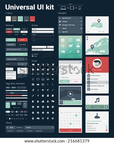 Universal UI Kit for designing responsive websites, mobile apps & user interface. Dark blue background. - stock vector
