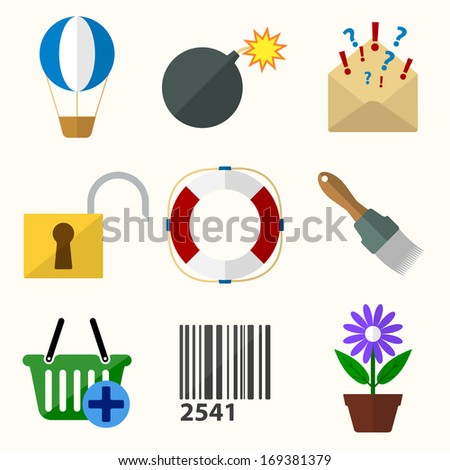 Universal Vector Flat Icons for Web and Mobile Applications - stock vector