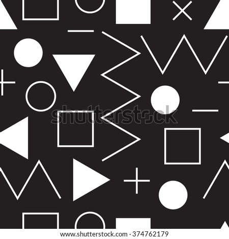 Universal vector lineal geometric seamless pattern. Simple abstract mathematic figure in minimalist style. Circles, dots, triangles, squares, zigzag
