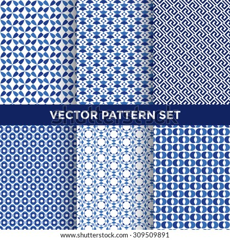 Universal Vector Pattern Set - Collection of Six Blue Pattern Designs on White Background - stock vector