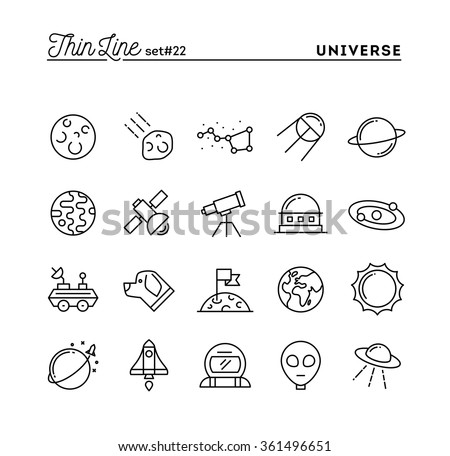 Universe, celestial bodies, rocket launching, astronomy and more, thin line icons set, vector illustration - stock vector