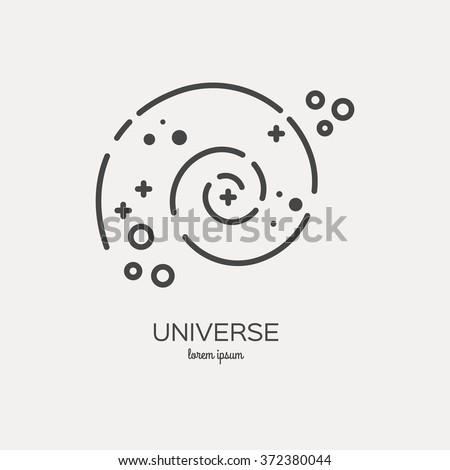 Universe Logo Made Trendy Line Stile Stock Vector Royalty Free