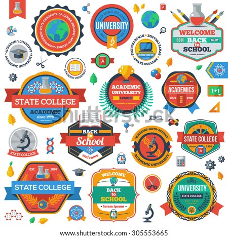 University, Academy and College Emblems or Logos Set. Vector illustration. Education Industry Design. Isolated on White Background. State College Sign. Acdemic University Stamp. Back to School Icons. - stock vector