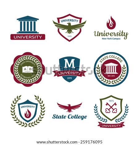 University and college school logo emblems