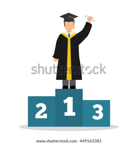 University and graduate concept represented by graduation cap and boy avatar icon. Colorfull and flat  illustration.  - stock vector