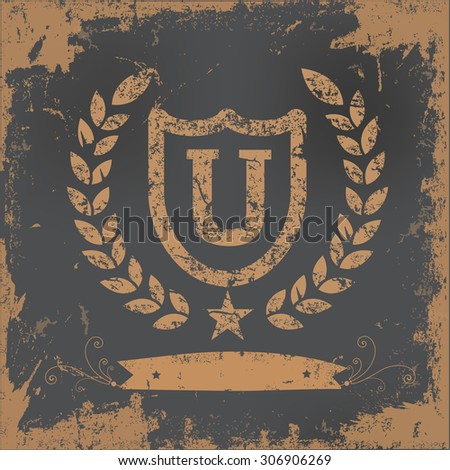 University badge design on old paper background,vector