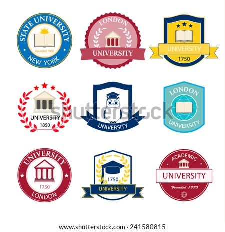 University, college and school logos, emblems  and badges set, vector illustration  - stock vector