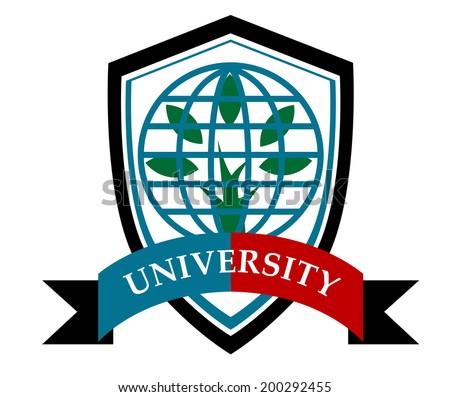 University education symbol logo with earth globe, tree and shield - stock vector
