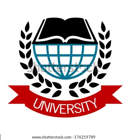 University emblem with a globe and open book logo surrounded by a laurel wreath with a ribbon banner below with the word - University - stock vector