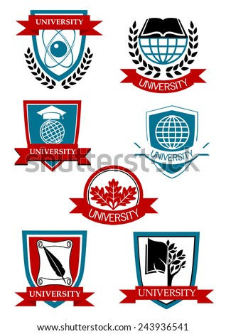 University emblems and symbols with tree, globe, book, banners and laurel wreathes - stock vector