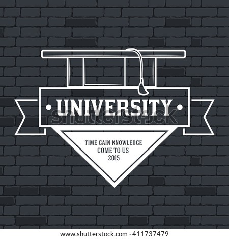 University label images vector concept on brick wall background - stock vector