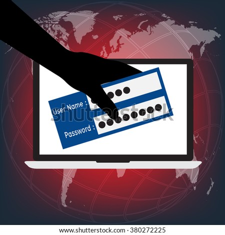 Unknown hacker person stolen user name and password login on victim laptop computer notebook on world map in background. Vector illustration computer security and data privacy technology concept. - stock vector