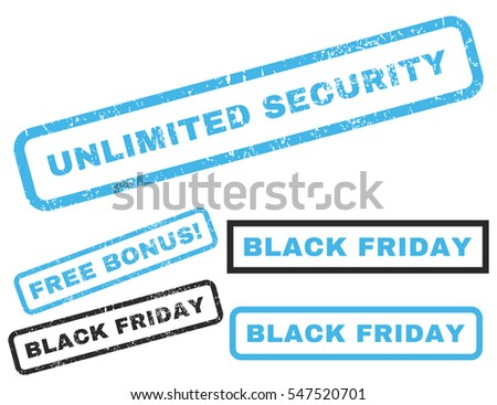 Unlimited Security rubber seal stamp watermark with additional design elements for Black Friday sales. Vector blue and gray stickers.