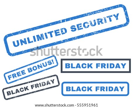 Unlimited Security rubber seal stamp watermark with bonus images for Black Friday offers. Vector smooth blue stickers. Text inside rectangular banner with grunge design and unclean texture.