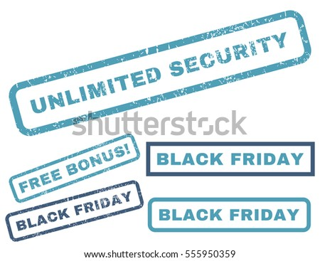 Unlimited Security rubber seal stamp watermark with bonus images for Black Friday sales. Vector cyan and blue emblems. Caption inside rectangular banner with grunge design and scratched texture.
