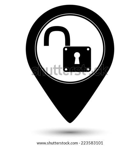 unlock icon - vector map pointer - stock vector