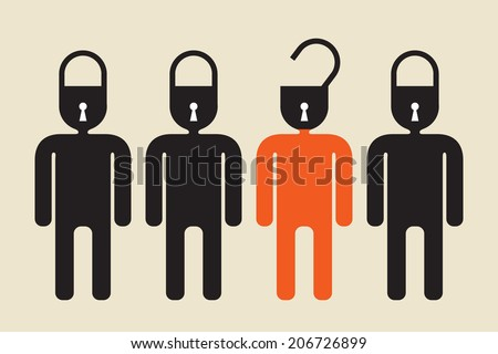unlock your mind or open secret concept - stock vector