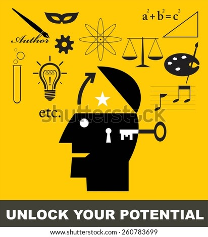 unlock your potential. vector illustration of unlocking your potential to reach the great future - stock vector