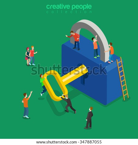 Unlocking lock process flat 3d isometry isometric personal data security decryption login log in entrance concept web vector illustration. Creative technology people collection. - stock vector