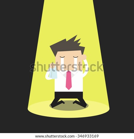Unlucky businessman crying alone in spotlight - stock vector