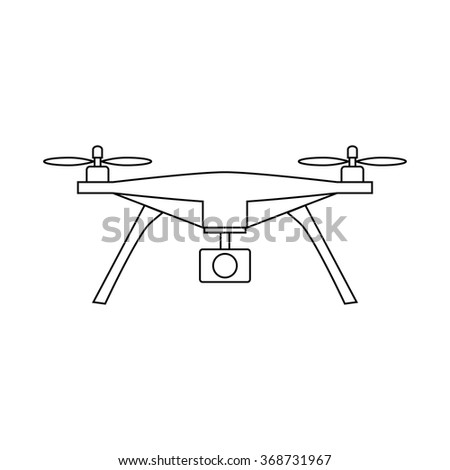 Unmanned Aircraft Line Icon Drone Vector Stock Vector 368731967
