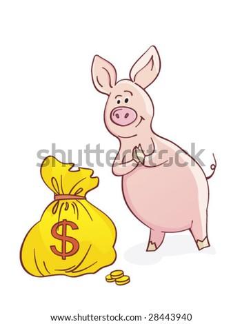 unny piggy-bank - stock vector
