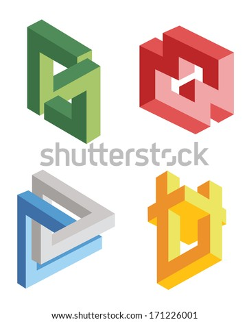 unreal bright geometrical objects vector - stock vector