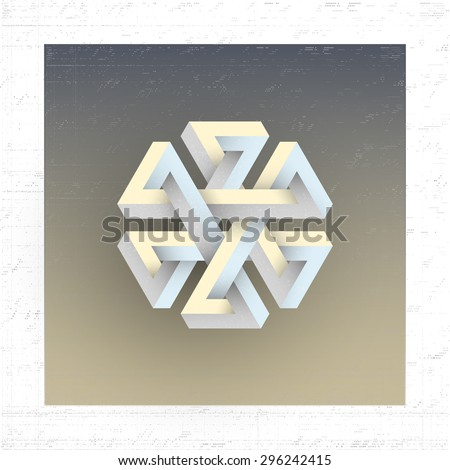 Unreal impossible geometric figure, vector element for design. - stock vector
