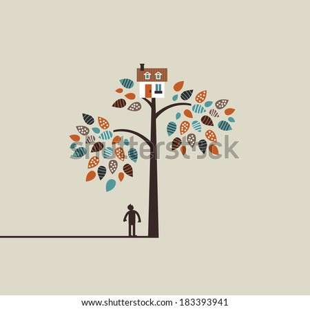 Unrecognizable man is dreaming about own home on the nature. Color vector illustration. - stock vector