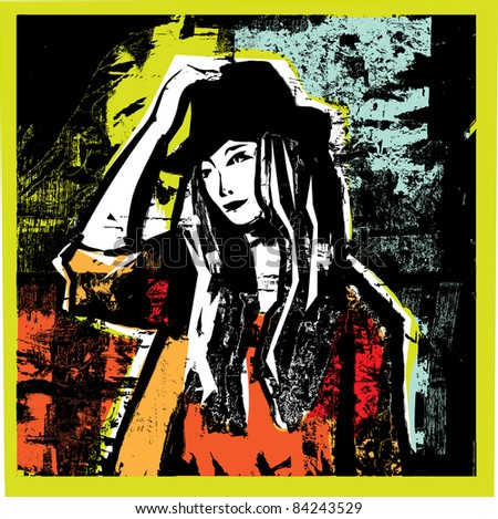 Unrecognizable young woman in grunge background. Young pretty woman with heat on the grunge background. Modern color vector illustration. - stock vector