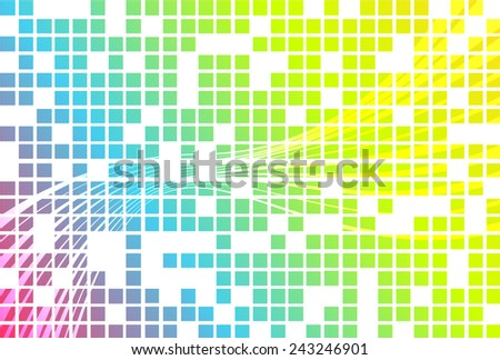 Unusual background in bright colors made of squares in front and wave in back on white background