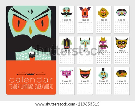 Unusual calendar for 2015. Bright trick or treat halloween illustration with cute, funny, evil, fearsome monsters in cartoon style. Can be good happy birthday cards. Organizer and schedule. - stock vector