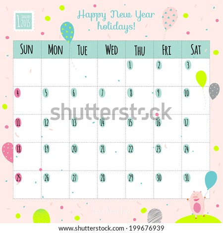Unusual calendar for 2015 with cartoon and funny animals and kids with place text. Vector illustration in cute style. Can be used like happy birthday cards. Good organizer and schedule.