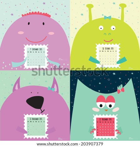 Unusual calendar for 2015 with cartoon and funny animals. Vector illustration in cute style. Vintage collection. Can be used like happy birthday cards. Good organizer and schedule.