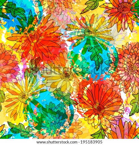 unusual colorful abstract pattern with flowers - stock vector