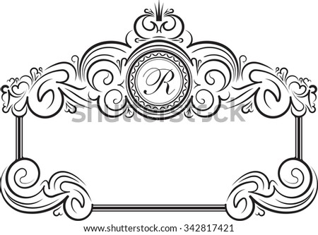 Unusual, decorative lace ornament, vintage frame with crown and round place for monogram. Vector illustration greeting card, invitation.  - stock vector