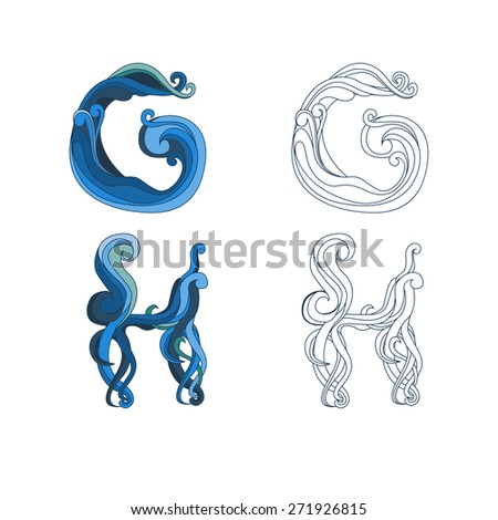 Unusual design of letters. G and H. Font with swirls, sea style. - stock vector