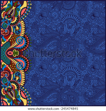 unusual floral ornamental template with place for your text, oriental vintage pattern for invitation party card, brochure design, postcard, packing, book cover, ultramarine color - stock vector