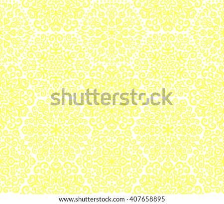 Unusual flourish yellow seamless pattern. Weave flower mandala ornament for wallpaper, fabric, furniture, invitation, paper print. Sunny floral vector. Boho summer design. Fresh interior background. - stock vector